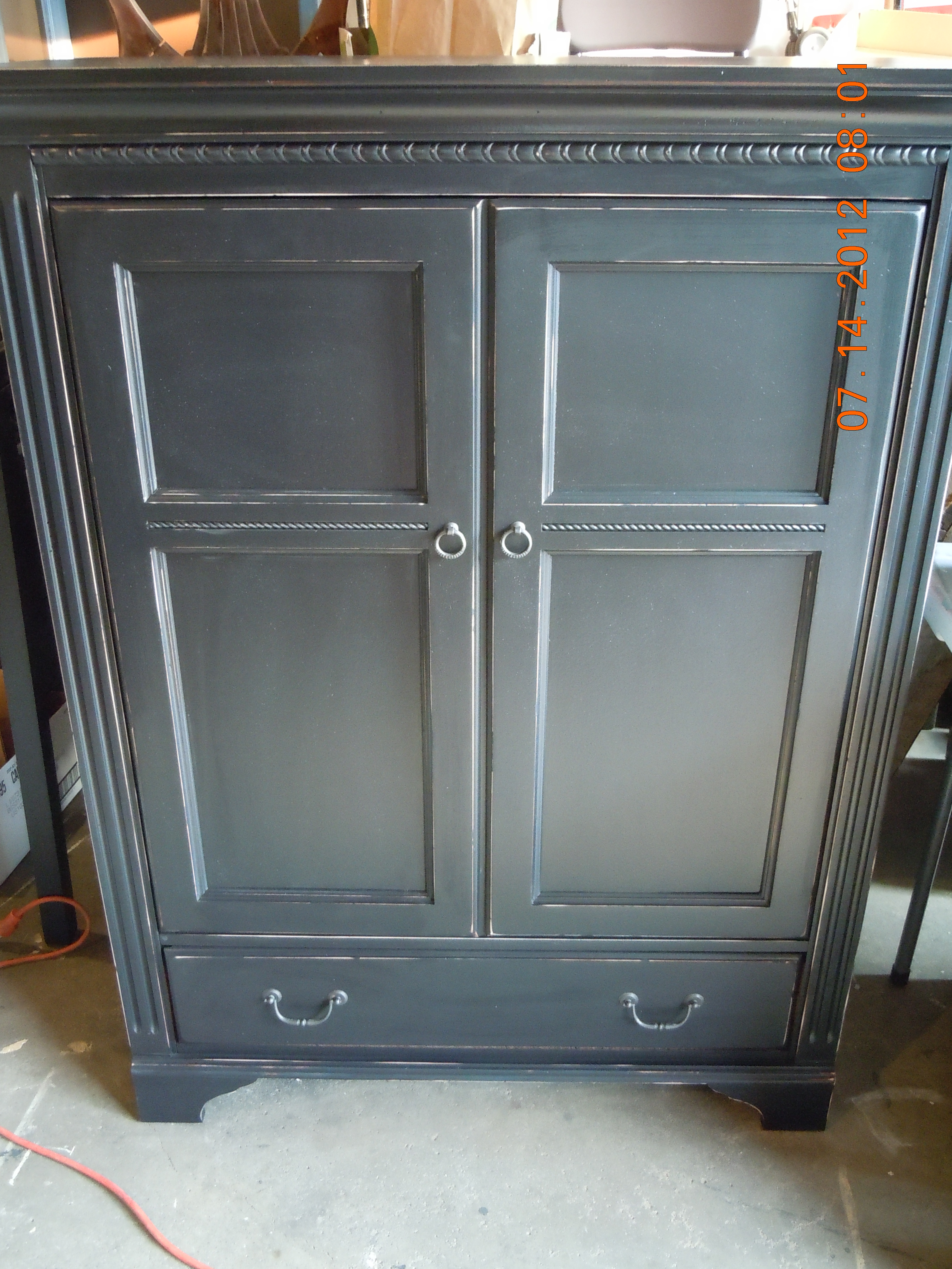 Black painted Distressed TV Cabinet/Armoire - Country ...
