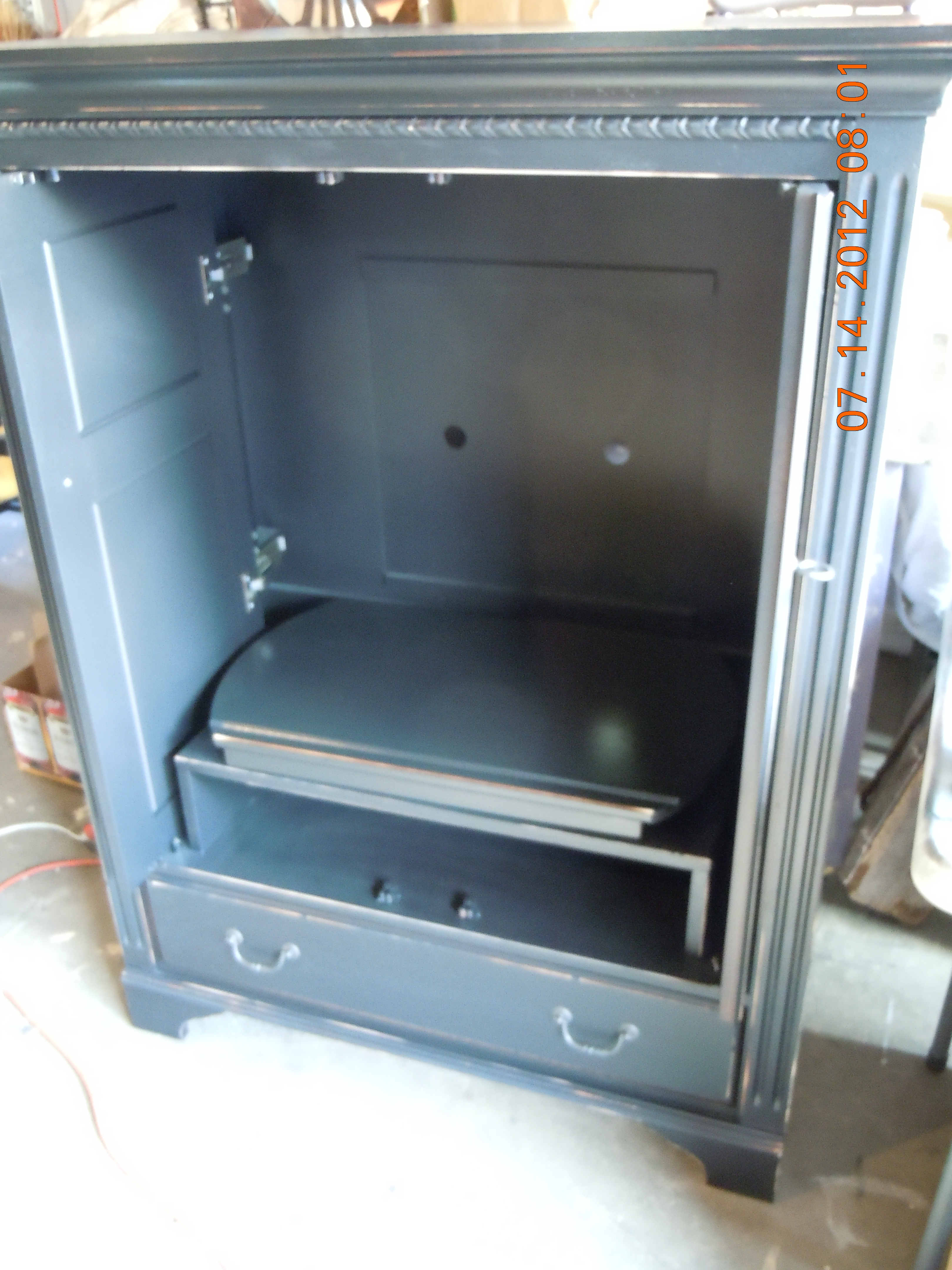Black Painted Distressed TV Cabinet/Armoire